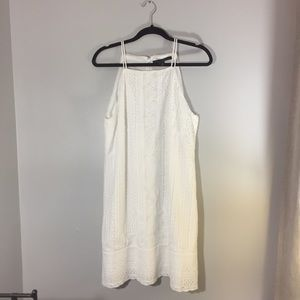 White House Black Market white lace midi dress